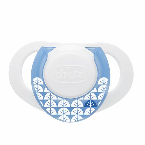 White and light blue NaturalFit Deco 0M+ Orthodontic Pacifier with tree/leaf pattern