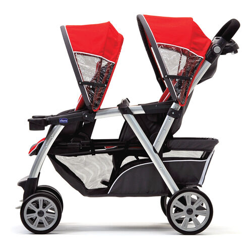 Older children will enjoy riding in the Chicco Cortina Together Double Stroller set up with two toddler seats