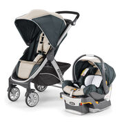 Chicco Bravo Trio Travel System - Silverspring - black and tan with silver piping