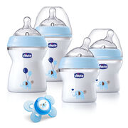 Celebrate the excitement and anticipation of your loved one's growing family with a Chicco NaturalFit® Newborn Gift Set. The four included NaturalFit® bottles are specially designed to bio-mimic the breast