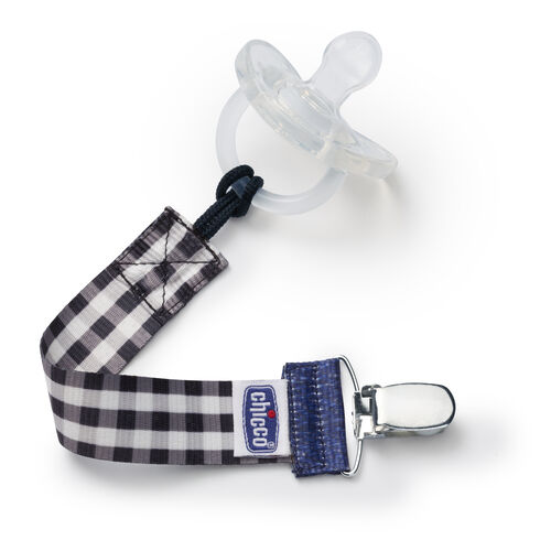 The Chicco NaturalFit Pacifier Clip fits most pacifiers