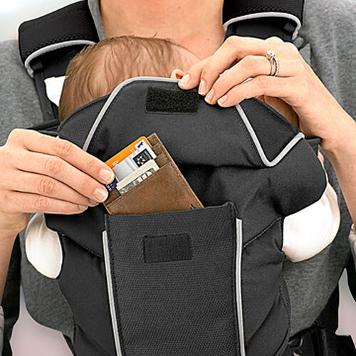 Larger items can fit in the UltraSoft Magic Infant Carrier's back pocket