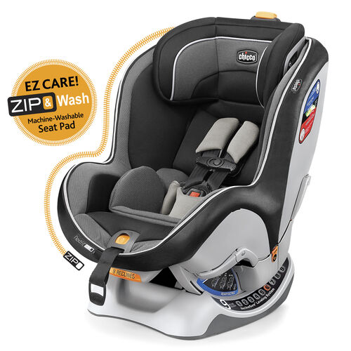 Chicco NextFit Zip Convertible Car Seat in dark black-gray with light grey mesh-style fabric accents - Notte
