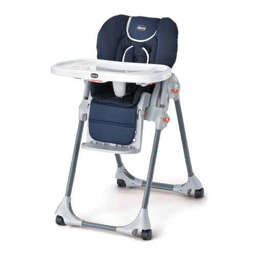 Chicco Polly Highchair - navy blue with white trim - Pegaso