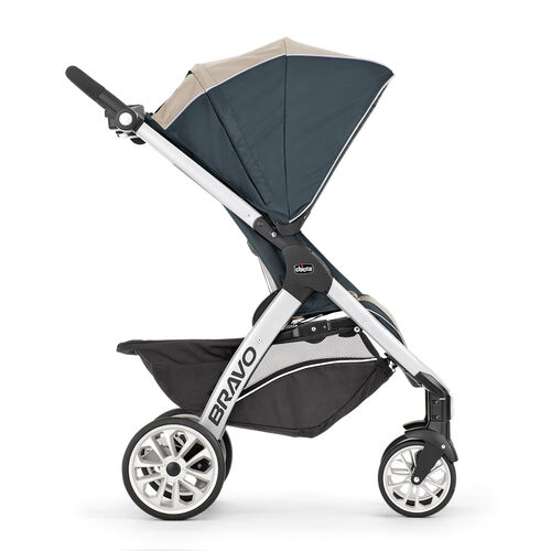 The Chicco Bravo Trio Travel System Stroller - Champagne - grows with your baby and can be used for toddlers up to 50lbs