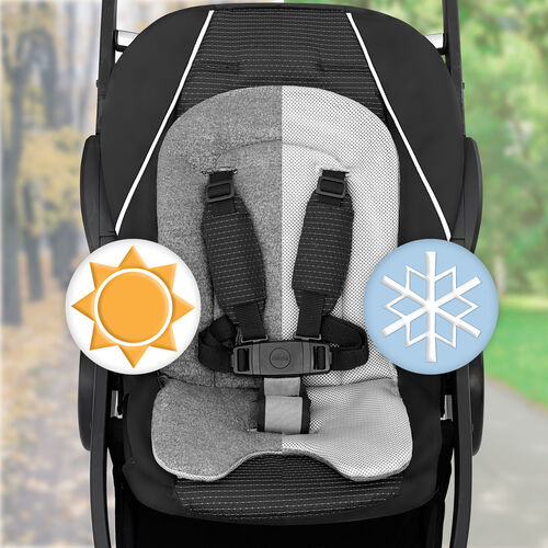 The main seat includes reversible fabrics with cozy knits or breathable mesh with extra padding