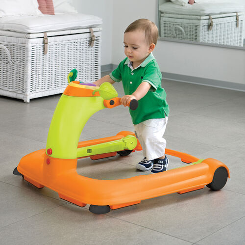 Using the Chicco 2 in 1 Baby Walker as a push-behind walker