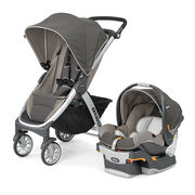 Chicco Bravo Trio System stroller and KeyFit 30 Infant Car Seat in neutral earthy Papyrus style
