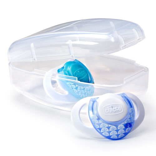 Each set of 2 NaturalFit Deco 0M+ Orthodontic Pacifiers comes in a sterilizable case
