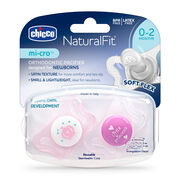 NaturalFit 0-2M mi-cro Pacifiers - Pink (2 pcs) in