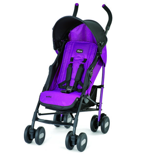 Chicco Echo Stroller in bright purple with black contrasting accents - Cyclamen