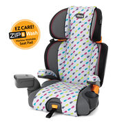 Chicco KidFit Zip 2-in-1 Belt Positioning Booster Car Seat in Gem style geometric pattern - pink, blue, lime green, and gray