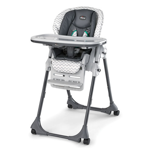 Chicco Polly Double Pad Highchair in a light gray chevron pattern with dark gray insert and green accents - Empire