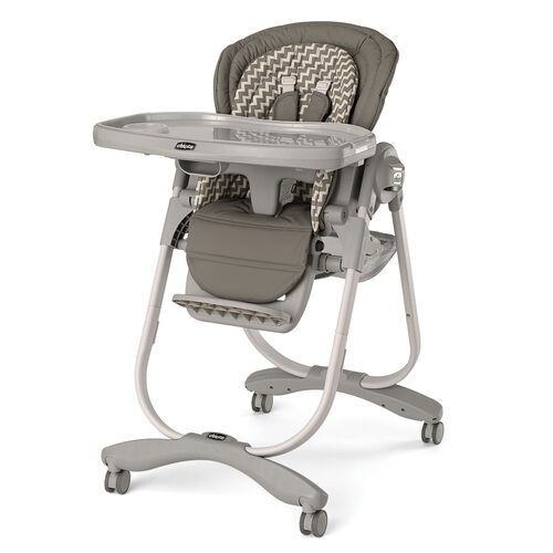 Chicco Polly Magic Highchair in beige with a tan chevron pattern - Singapore
