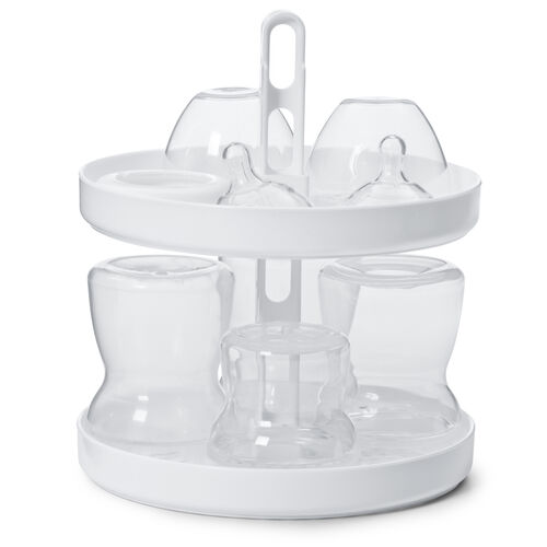 The top rack of the NaturalFit Electric Steam Sterilizer is removable to fit taller baby bottles