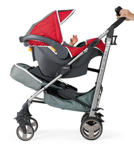 Liteway Plus Stroller Seat folds forward to accept the Keyfit 30 Infant Car Seat