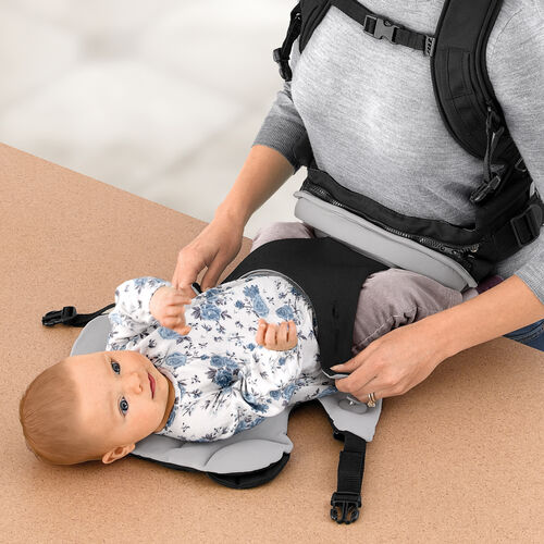 The Close To You Baby Carrier opens fully to allow you to easily place baby in or take baby out