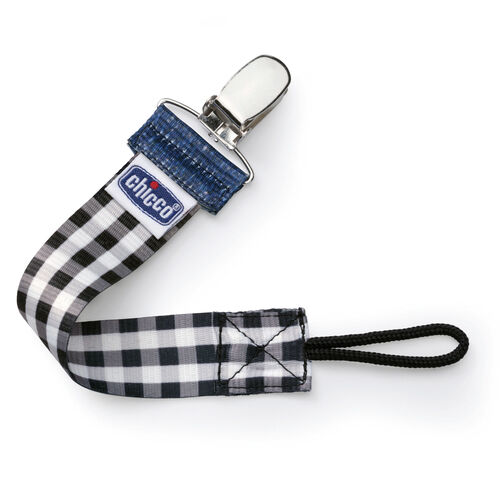 Chicco NaturalFit Pacifier Clip in Black Gingham Plaid