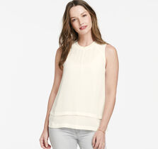 Sleeveless Layered-Hem Blouse