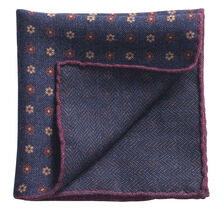 Floral Herringbone Pocket Square
