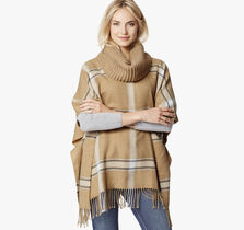 Cowl Neck Windowpane Poncho