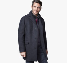 Wool Car Coat with Nylon Bib