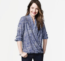 Bubble-Hem Print Blouse