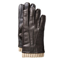Knit-Cuff Leather Smart Gloves