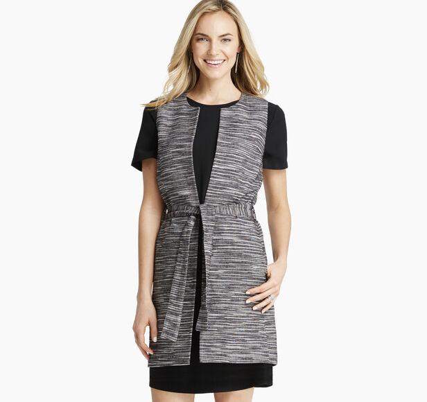 Slub-Textured Belted Vest