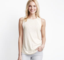 Chiffon-Inset Sleeveless Top