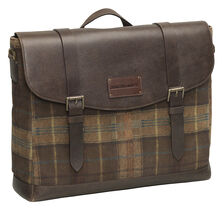 Suede Leather Flapover Briefcase