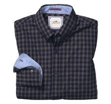 Slim Fit Washed Shadow Check Shirt
