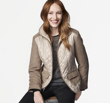Quilted Mixed-Media Jacket