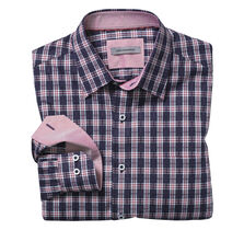 Tailored Fit Three-Dimensional Plaid Shirt