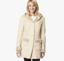 Faux-Shearling Hooded Coat
