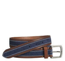 Leather-Trimmed Suede Belt