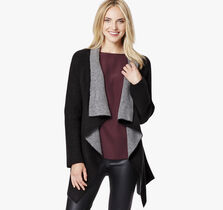 Draped Double-Faced Cardigan