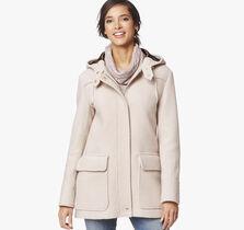 Textured Wool Hooded Coat