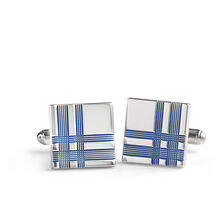 Navy Plaid Square Cufflinks
