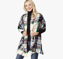 Brushed Plaid Oversized Scarf