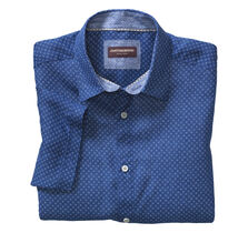 Square Print Linen Camp Shirt