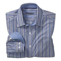 Tailored Fit Railroad Stripe Convertible Cuff Shirt