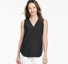 Sleeveless Perforated-Back Blouse