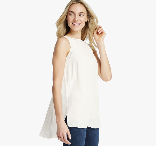 Pleat-Back Sleeveless Top