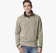 Washed Slub Pique Quarter-Button Pullover