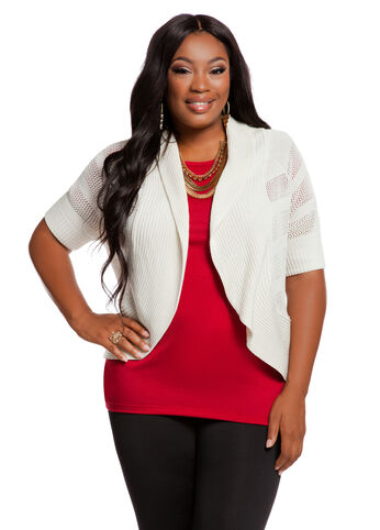 Web Exclusive: Pointelle Wide Rib Trim Shrug