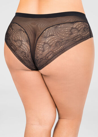 Floral Lace Mesh Brief Panty