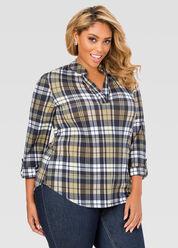 Button Tab Hi-Lo Plaid Shirt
