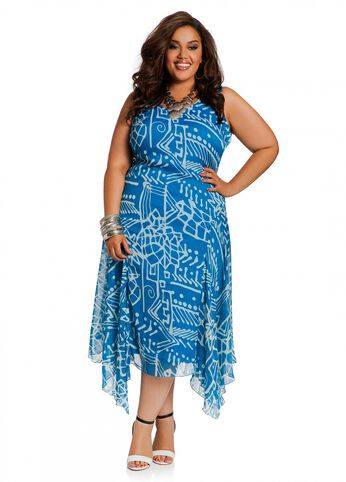 Tropical Print Chiffon Godet Dress