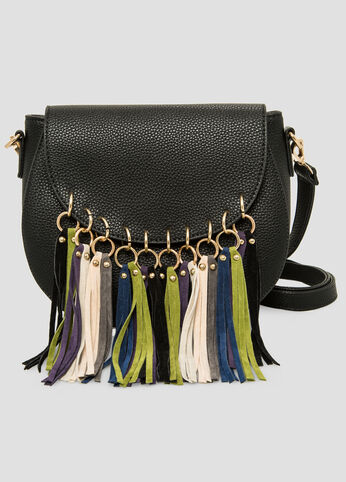 Microsuede Fringe Saddle Bag